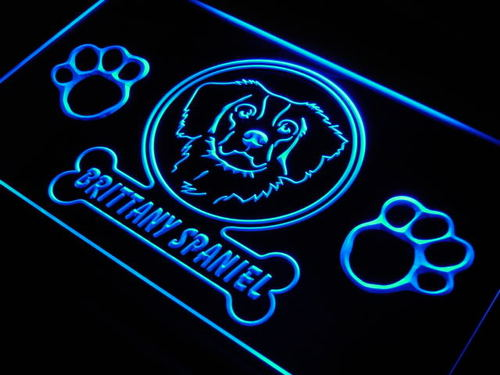 Brittany Spaniel Dog Paw Print Neon Light Sign