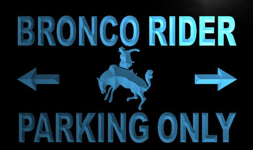 Bronco Rider Parking Only Neon Light Sign