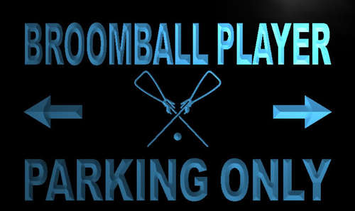 Broomball Player Parking Only Neon Light Sign