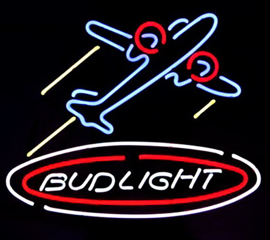 Bud Light Airplane Plane Beer Neon Sign