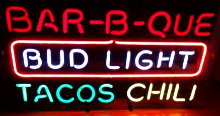 Bud Light Barbecue BBQ Tacos Chili Neon Sign