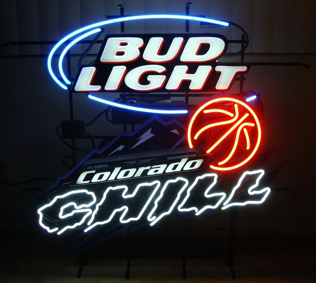 Bud Light Basketball Colorado Chill Neon Sign