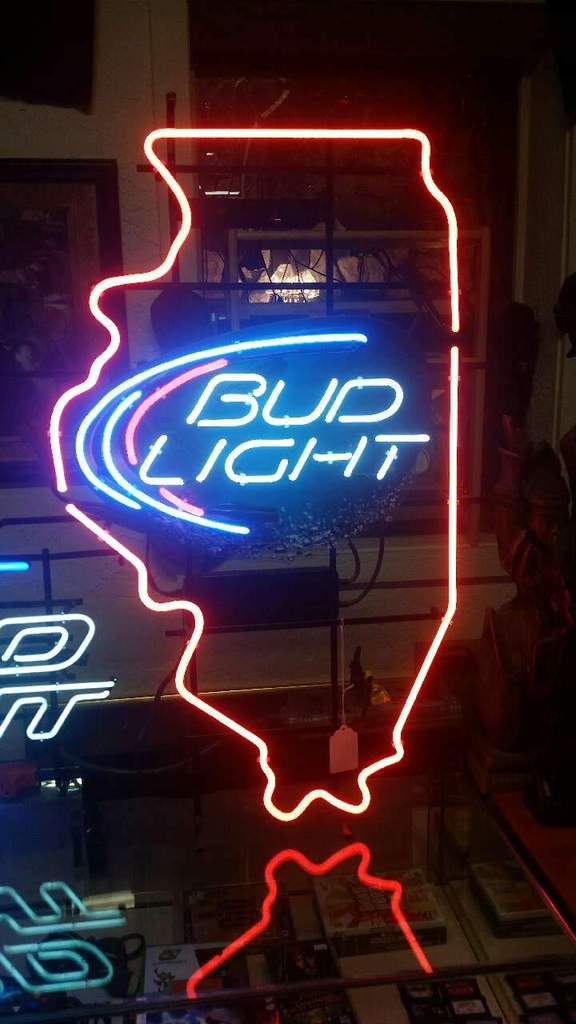 Bud Light Illinois State Neon Sign