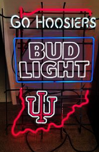 Bud Light Indiana Uni Go Hoosiers Neon Sign