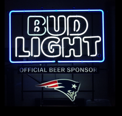 Bud Light Patriots NFL Sports Neon Sign