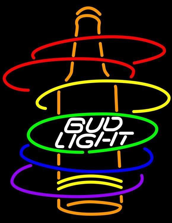Bud Light Rainbow Bottle Neon Sign