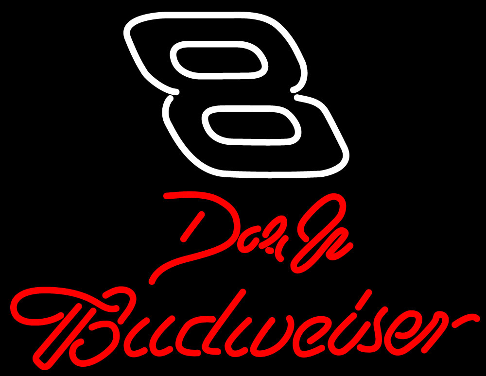 Budweiser Bud Light NASCAR # 8 Dale Earnhardt Neon Sign 18x10