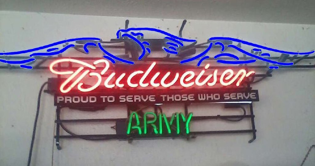 Budweiser Armed Forces Eagle Neon Sign