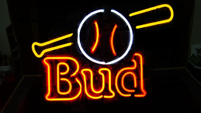 Budweiser Bud Baseball Bat Ball Neon Light Sign 16 x 13