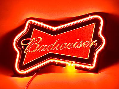 Budweiser Red Bow Neon Bar Mancave Sign