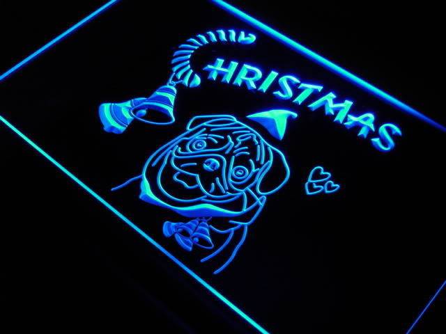 Bull Dog Christmas Celebrate Pet Shop Neon Signs