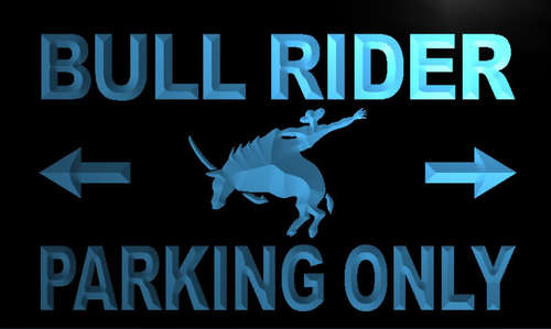 Bull Rider Parking Only Neon Light Sign