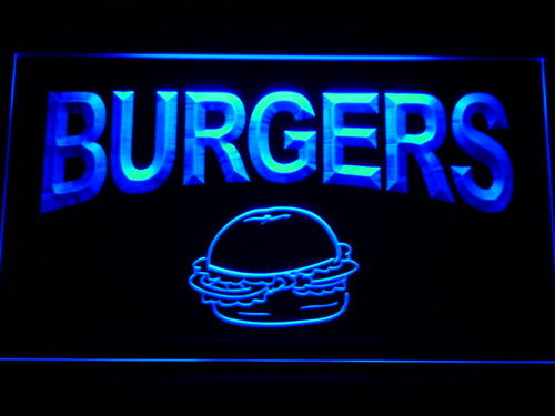 Burgers Cafe Neon Light Sign