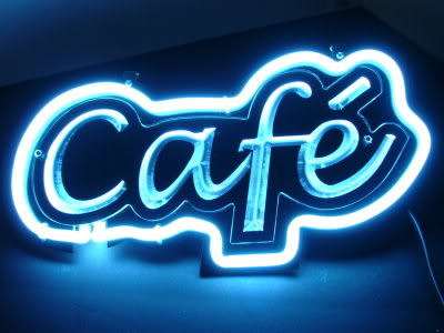 CAFE Blue Neon Shop Cafe Bar Mancave Sign