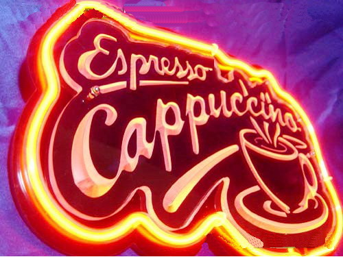 Cappuccino Coffee Cafe Neon Sign