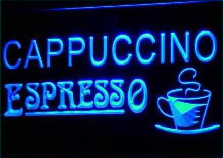 Cappuccino Espresso Coffee Cafe Neon Light Sign