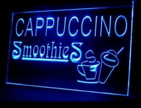 Cappuccino Smoothies Cold Drink Shop LED Neon Sign