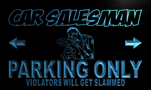 Car Salesman Parking Only Neon Light Sign