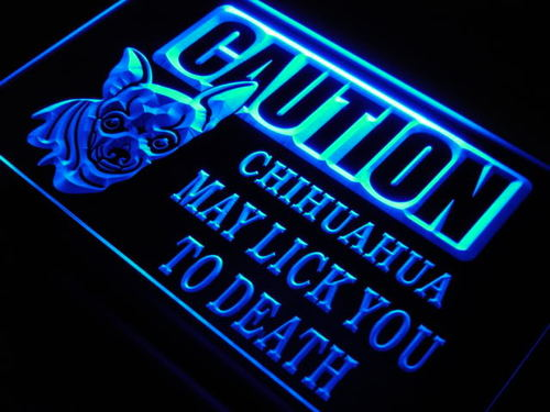 Caution Chihuahua Dog Pet Lick Neon Light Sign