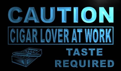Caution Cigar Lover At Work Neon Light Sign