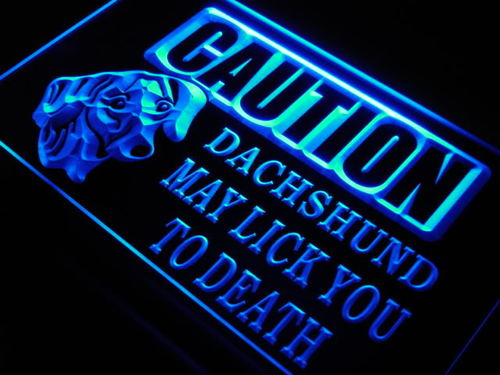 Caution Dachshund Lick Dog Pet Neon Light Sign