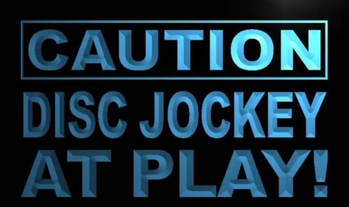 Caution Disc Jockey at Play Neon Light Sign
