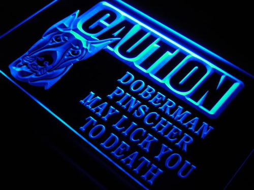 Caution Doberman Pinscher Lick Neon Light Sign