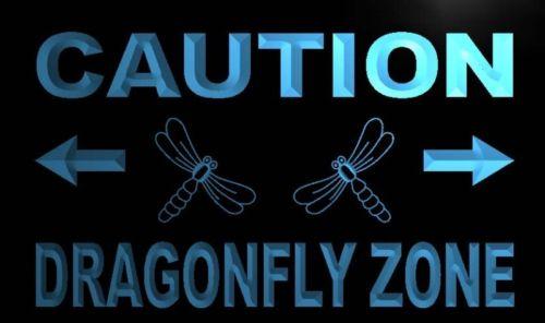 Caution Dragonfly Zone Neon Light Sign
