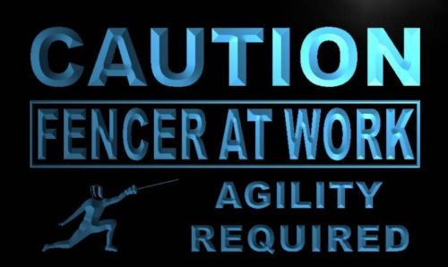 Caution Fencer At Work Neon Light Sign