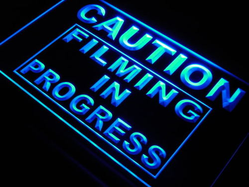 Caution Filming in Progress Neon Light Sign
