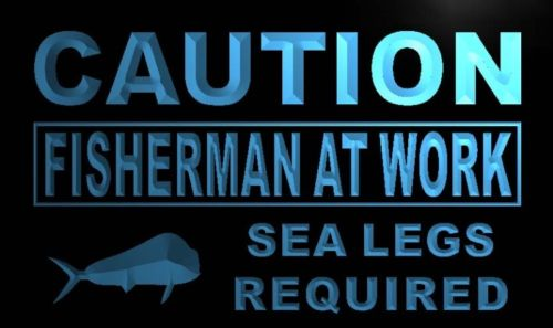Caution Fisherman At Work Neon Light Sign