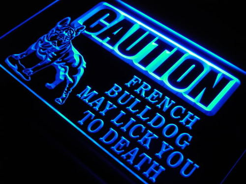 Caution French Bull Dog Lick Pet Neon Light Sign