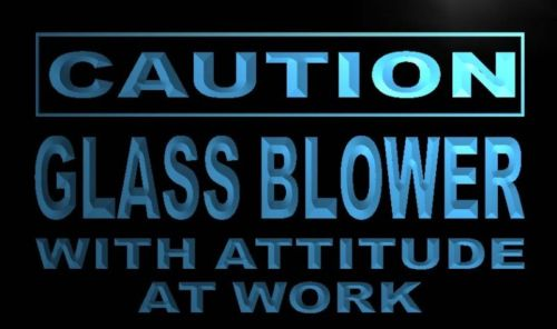 Caution Glass Blower Neon Light Sign
