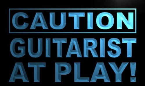 Caution Guitarist at Play Neon Light Sign