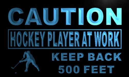 Caution Hockey Player At Work Neon Light Sign