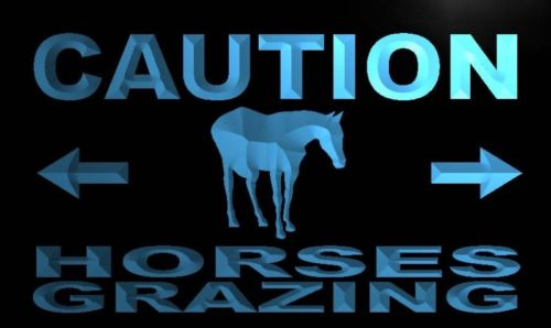 Caution Horses Grazing Neon Light Sign