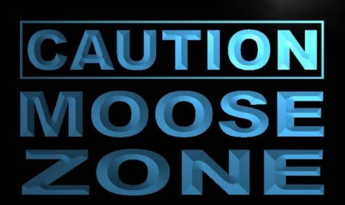 Caution Moose Zone Neon Light Sign