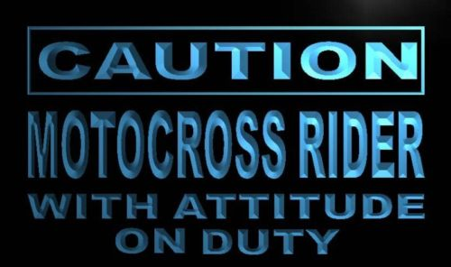 Caution Motocross Rider Neon Light Sign