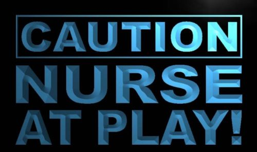 Caution Nurse at Play Neon Light Sign