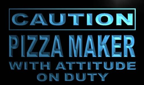 Caution Pizza Maker on Duty Neon Light Sign