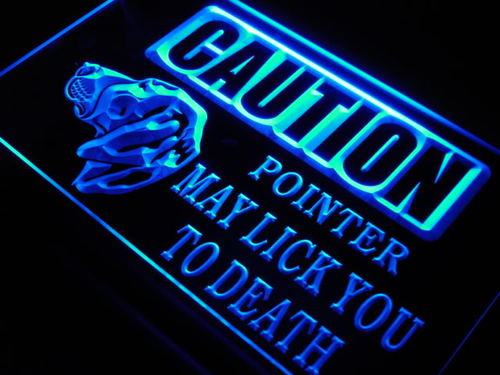 Caution Pointer Lick Dog Shop Neon Light Sign