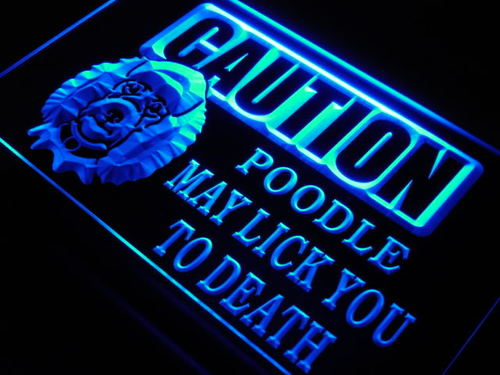 Caution Poodle Puppy Dog Lick Neon Light Sign