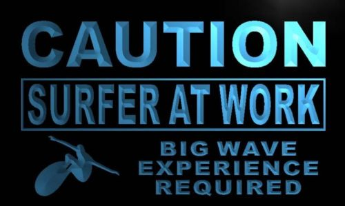 Caution Surfer at Work Neon Light Sign