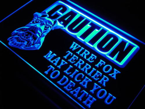 Caution Wire Fox Terrier Lick Neon Light Sign