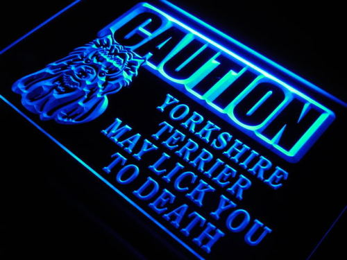 Caution Yorkshire Terrier Lick Neon Light Sign