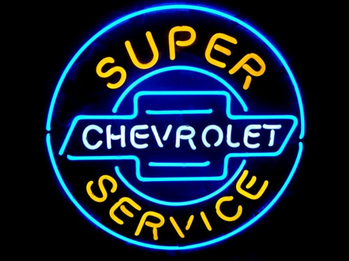 Chevrolet Super Service Garage Classic Neon Light Sign 16 x 16