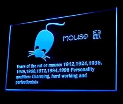 Chinese Zodiac Mouse LED Neon Sign