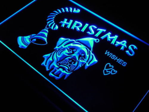 Christmas Rottweiler Dog Pet Shop Neon Signs