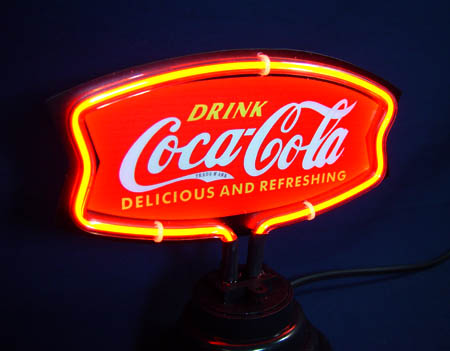 Coca Cola Classic Red Logo Yellow Border Neon Bar Mancave Sign