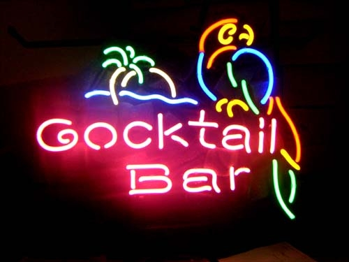 Cocktail Bar Island Parrot Neon Light Sign 16 x 15